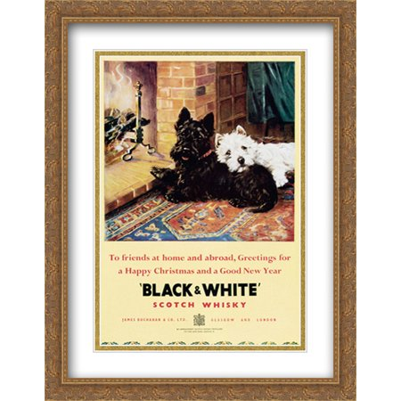Black and White Scotch Whiskey 2x Matted 24x32 Large Gold Ornate Framed Art (Gold Scotch Whiskey)