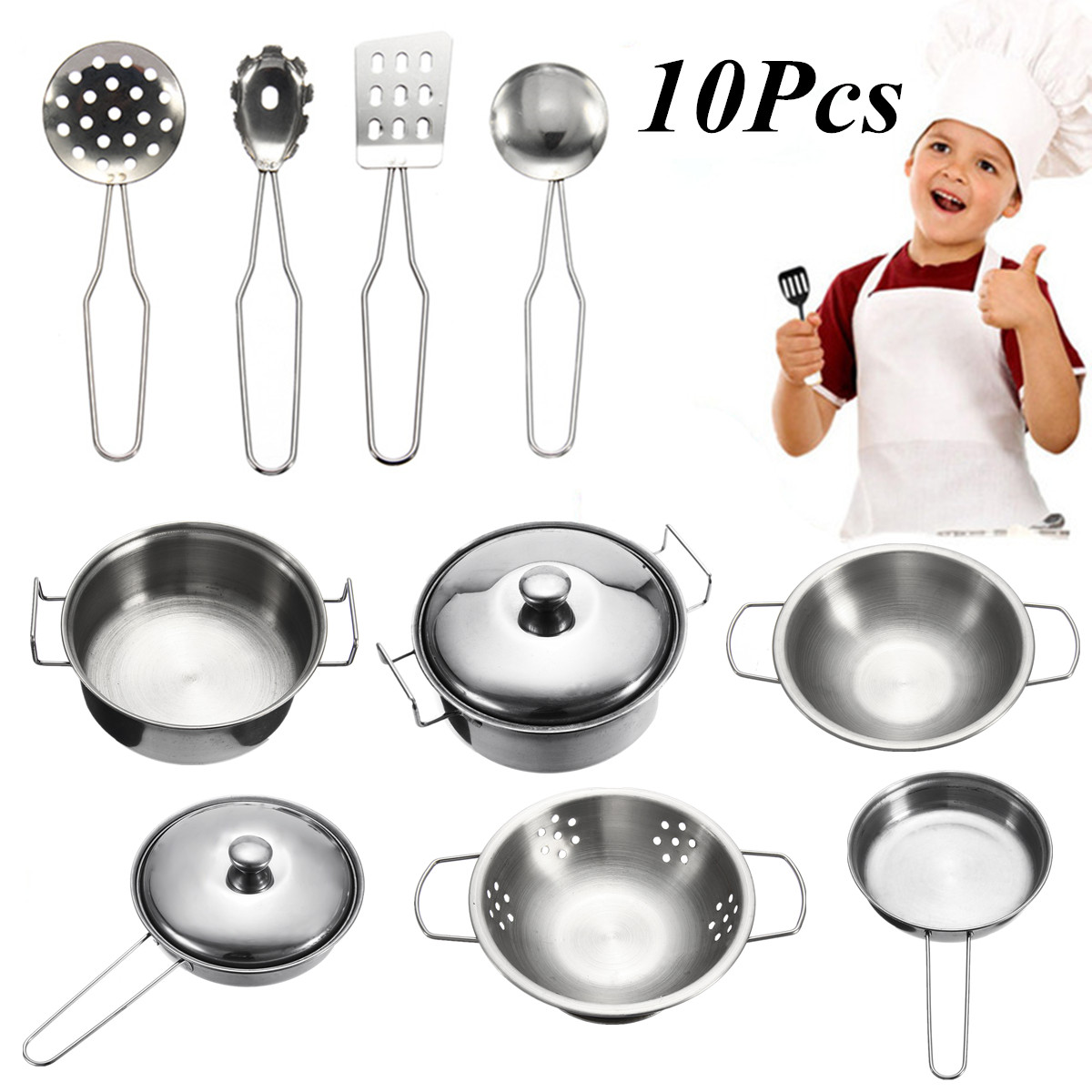 10pcs Mini  Stainless steel  Cookware Kitchen  Cooking Set