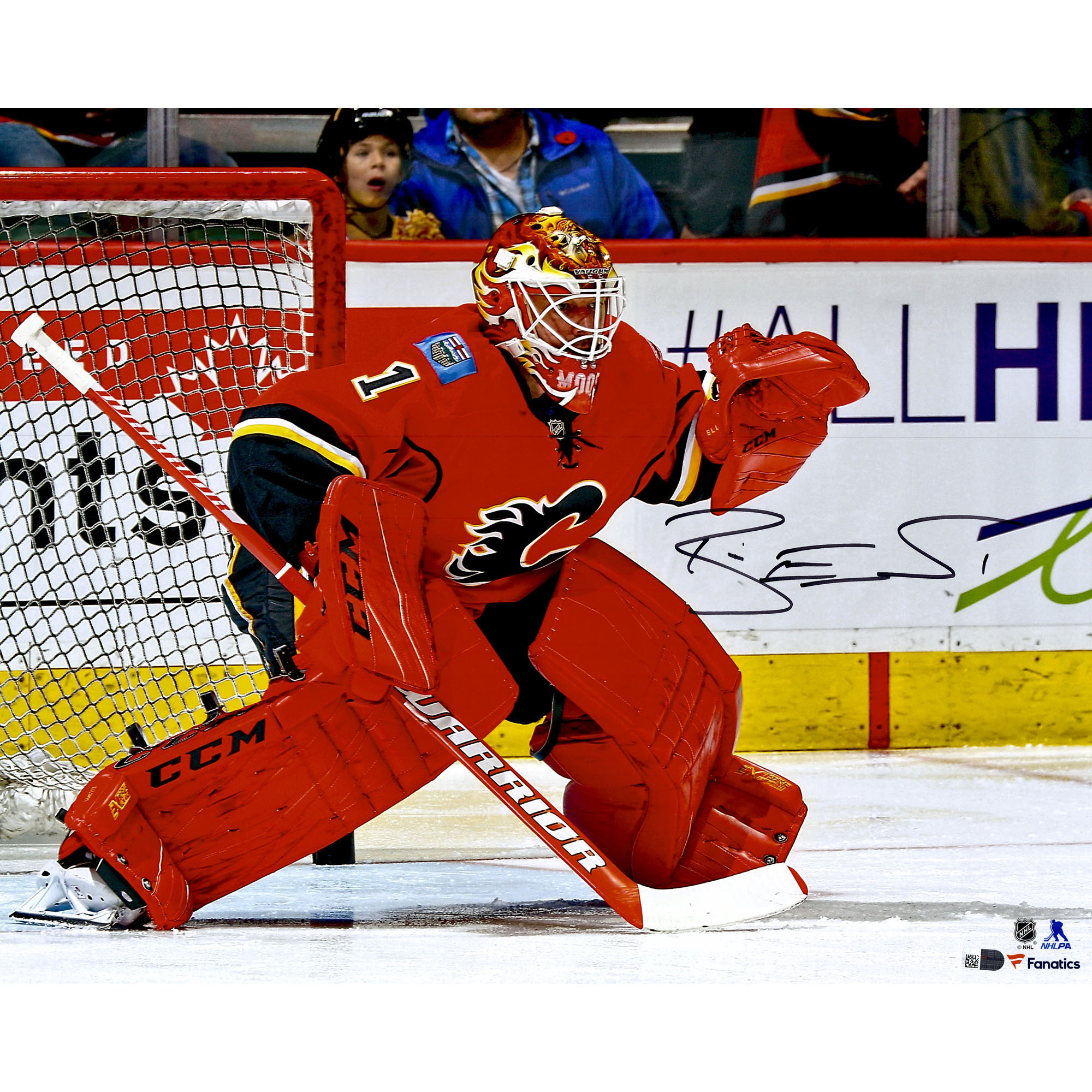 """Brian Elliott Calgary Flames Fanatics Authentic Autographed 16"""" x 20"""" Red Jersey Crouched In Net Photograph - No Size"""