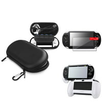 Insten Black EVA Case+White Hand Grip+Clear Screen Protector For Sony PS Vita PSV