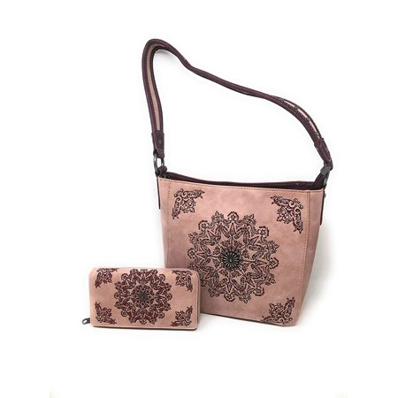 Set of Women's Concealed Carry Hobo Single Strap Purse with Mandala Boho Design with Matching Wallet