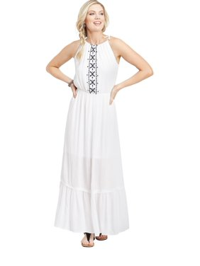 59b5d63202435 Product Image maurices Halter Top Maxi Dress - Women's Embroidered