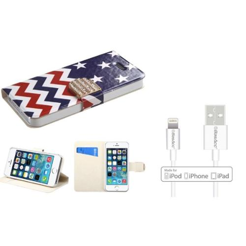 Insten Stars Wave Flip Leather Wallet Case with Card slot For iPhone SE 5S 5 (+ Apple Certified Lightning Cable)