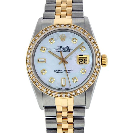 Pre-Owned Rolex Mens Datejust Steel & 18K Yellow Gold Mother of Pearl Diamond Watch 16013 Jubilee