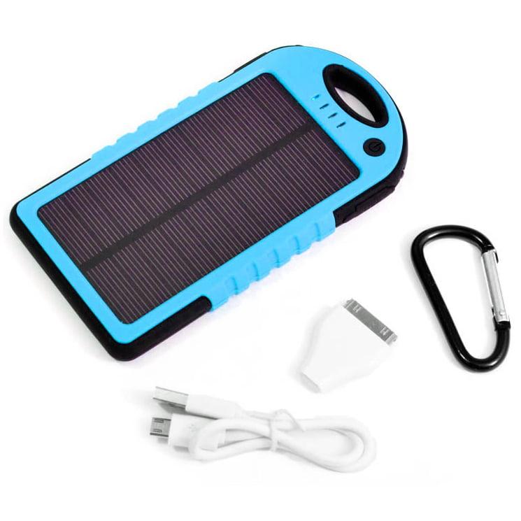 Alta Portable 6800mAh Solar Power Bank USB Charger with Carabiner & Flashlight
