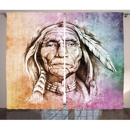 Native American Decor Curtains 2 Panels Set, Portrait Of Indian Chief With Ethnic Feather Band Watercolor Style Image Art Print,...