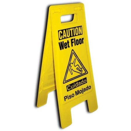 - 3-Pack Wet Floor Caution Sign 2-Sided Folded Out Locking Style Commercial Safety Bilingual Cuadado Piso Mojado Sign - Yellow