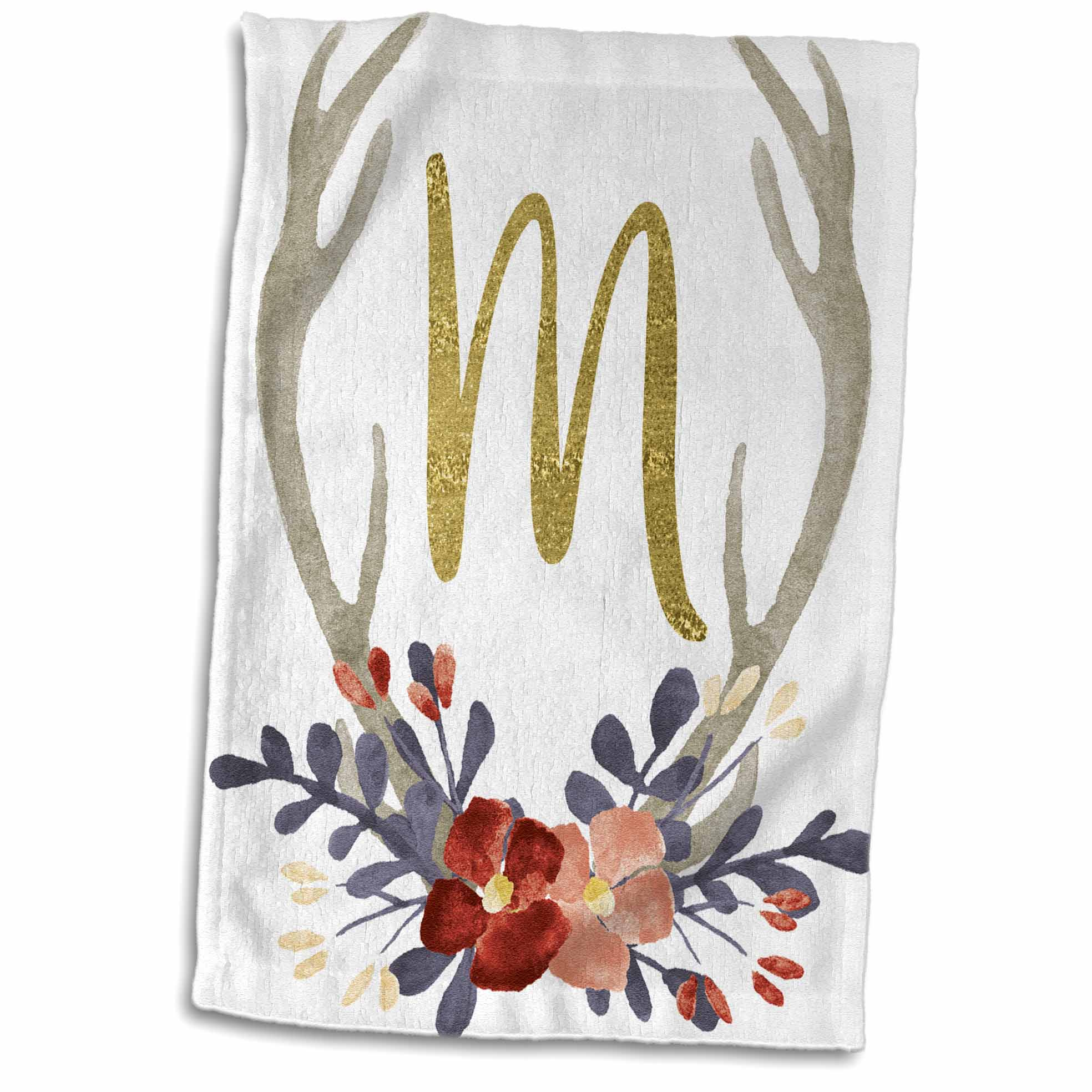 3dRose Glam Gold M Monogram In A Watercolor Pink and Blue Floral Antler - Towel, 15 by 22-inch
