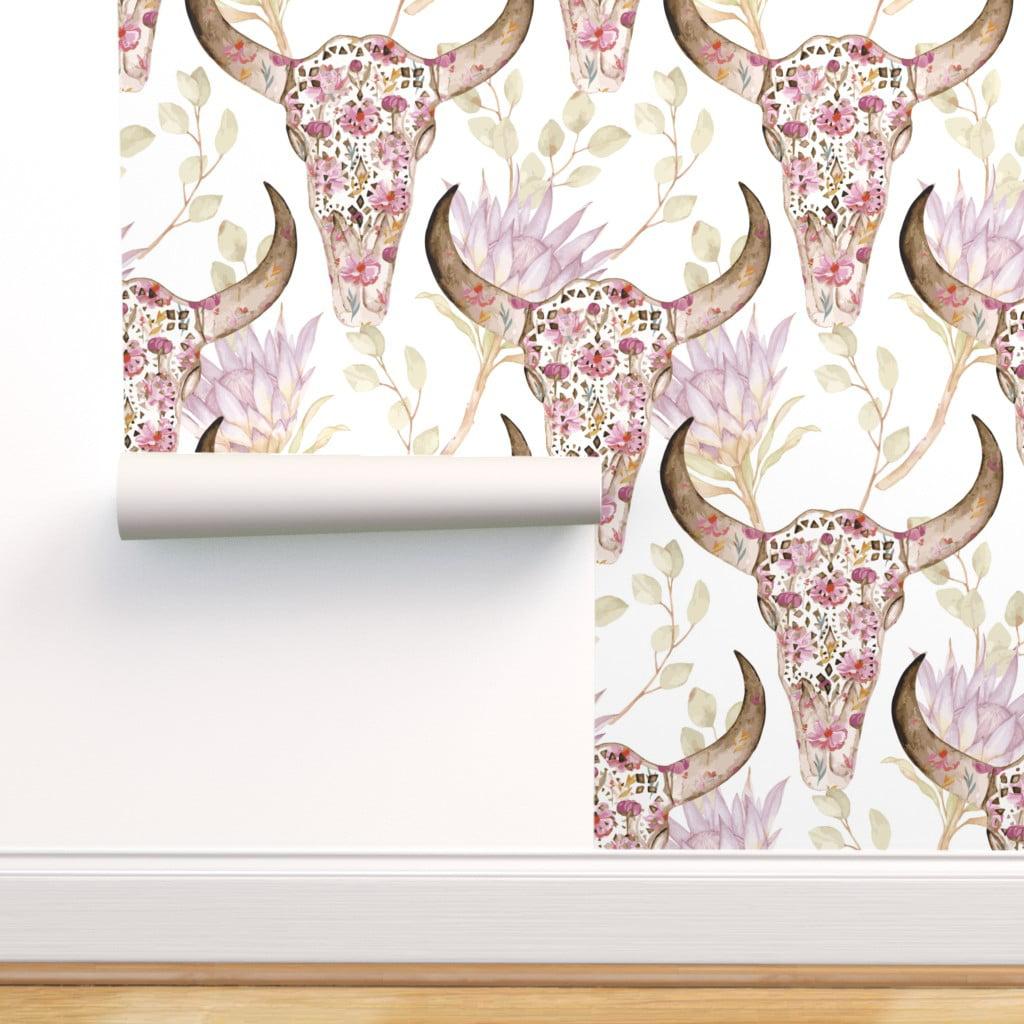 Peel And Stick Removable Wallpaper Santa Fe Floral Skull Boho
