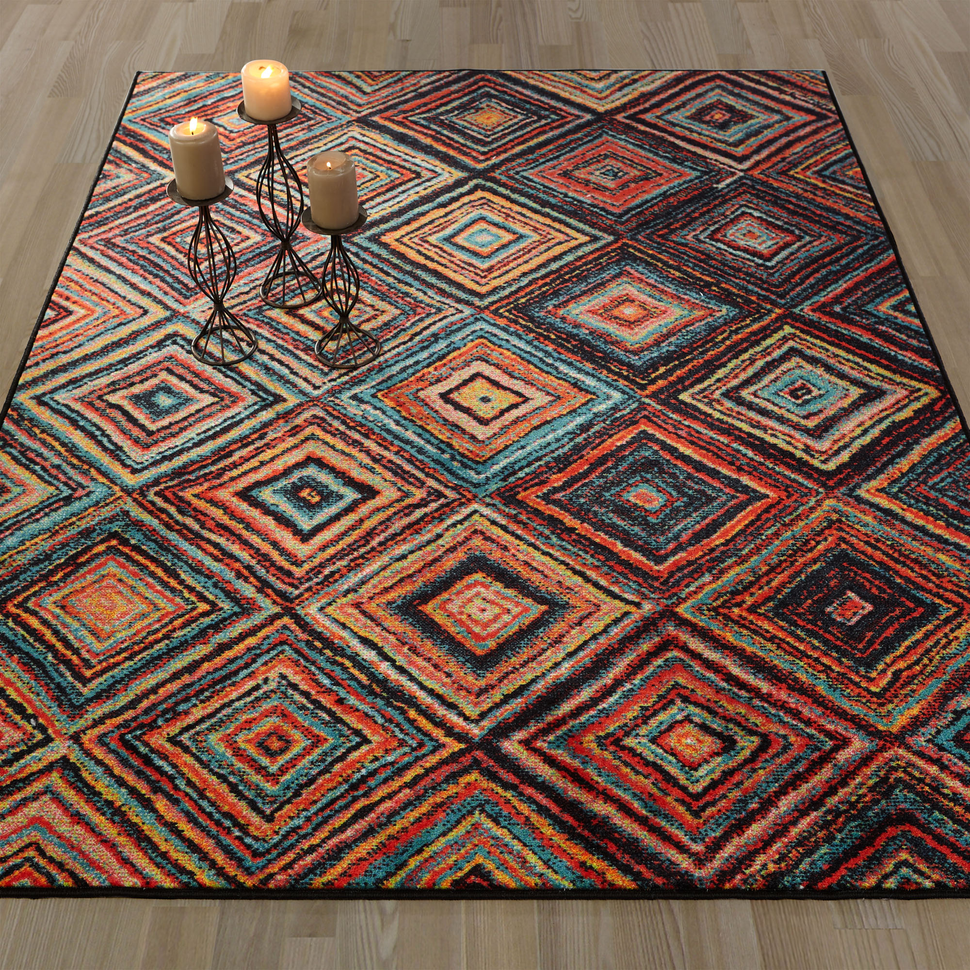 Ottomanson Authentic Collection Contemporary Multicolor Abstract Diamonds Design Area or Runner Rugs