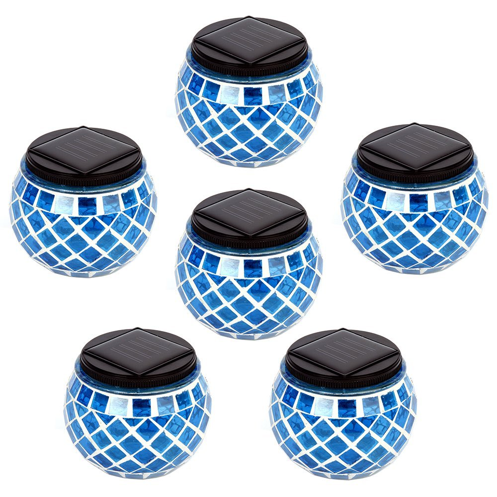 iGlow 6 Pack Outdoor Blue Solar Powered Mosaic Lights Cry...