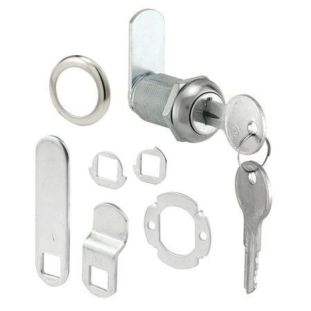 Drawer and Cabinet Lock, 1-1/8 in., Diecast, Stainless Steel, 13/16 in. Max. Panel