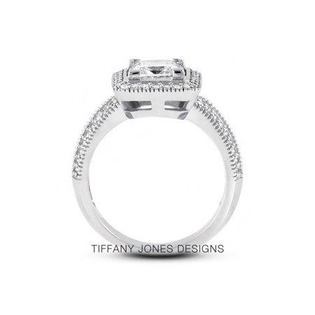1.02ct tw F-SI1 VG-Cut Princess AGI Natural Diamonds 14k Halo Vintage Ring 5.1gr