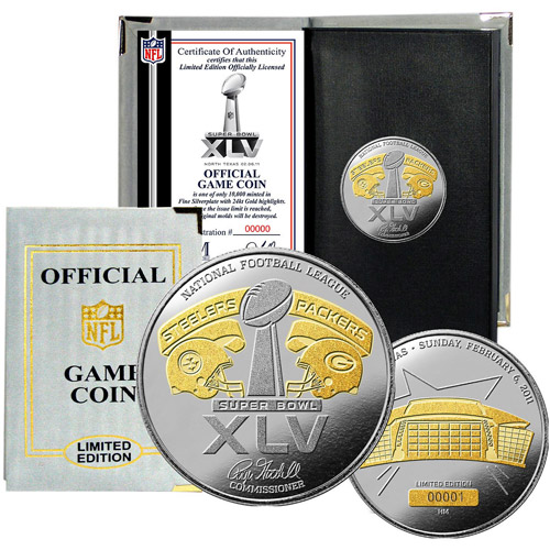 Highland Mint NFL Super Bowl XLV 24kt Gold Flip Coin by Highland Mint
