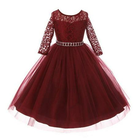 Little Girls Burgundy Floral Lace Rhinestone Waist Tulle Christmas Dress