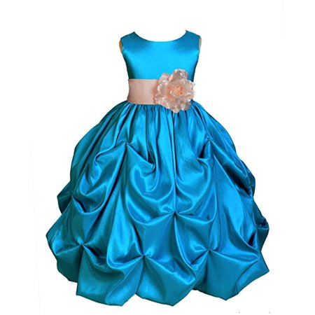 Ekidsbridal Turquoise Satin Taffeta Pick-Up Bubble Flower Girl Dresses Junior Toddler Formal Special Occasions Wedding Pageant Dresses Ball Gown Dance Recital Reception Birthday Girl Party 301S - Turquoise And Black Wedding