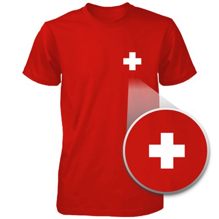Switzerland Flag Pocket Printed Red Tee Men's Short Sleeve T-shirt ()