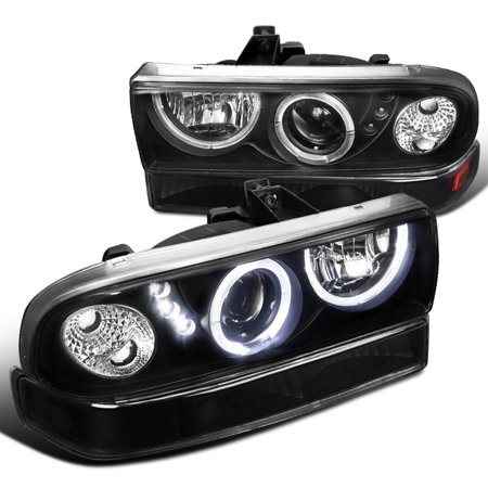 Spec-D Tuning For 1998-2004 Chevy S10 Blazer Black Dual Halo Projector Smd Led Headlights + Bumper Lights Lamps (Left+Right) 1998 1999 2000 2001 2002 2003 2004