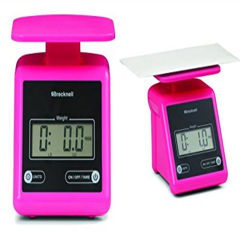 Brecknell PS7 Electronic Portable Postal Scale 7 lb x 0.5 oz, Dual,Package of 2 scales Pink by Brecknell