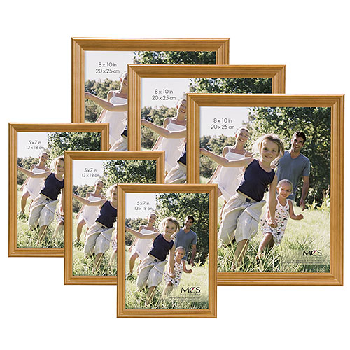 Traditional Oak Wood Picture Frame, Set of 6