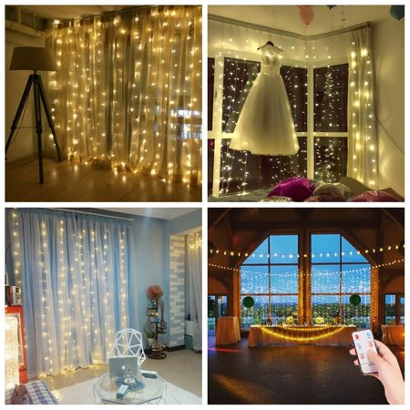 Salcar LED Curtain Lights 9.8 9.8ft with 300 pcs led, Remote Control, 8 flash Modes Waterproof String Light for Indoor and Outdoor Badroom, Saloon, Garden, Christmas, Wedding, Party - Warm - Remote Control Outdoor Light