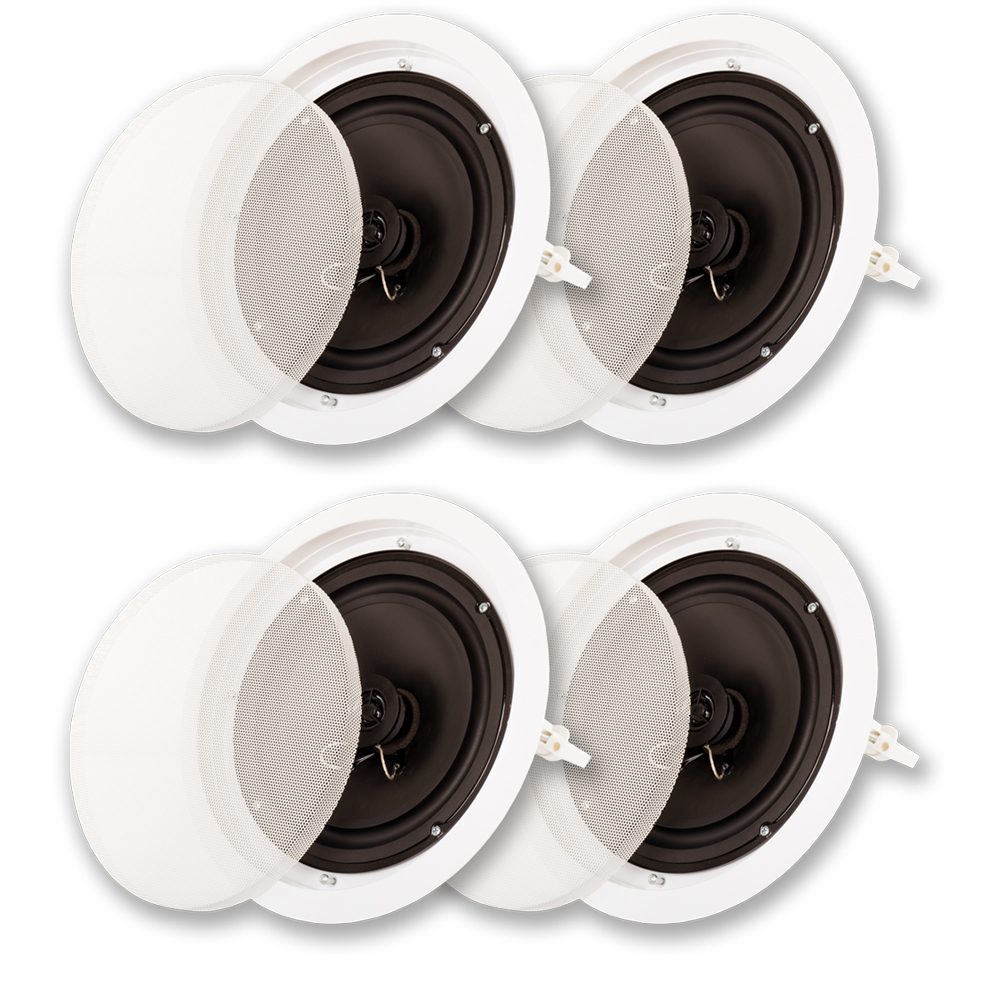 "Acoustic Audio SP8c In Ceiling 8"" Speaker 2 Pair Pack 2 Way Home Theater 1200 Watt SP8c-2PR"