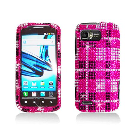Pink Diamond Plaid Pattern Snap-On Hard Case Cover for Motorola Atrix 2 Mb865 ()