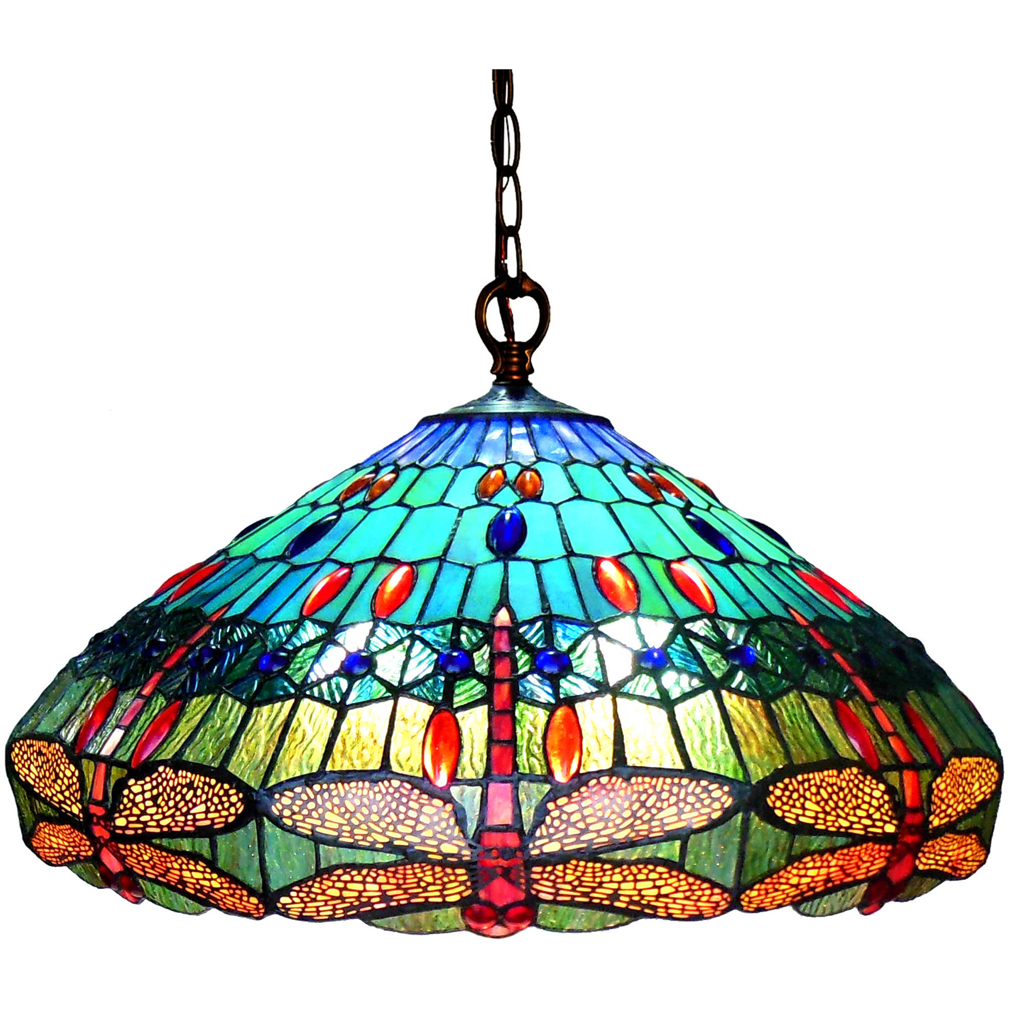 "Chloe Lighting Scarlet Tiffany-Style 3-Light Dragonfly Hanging Pendant Lamp with 24"" Shade"