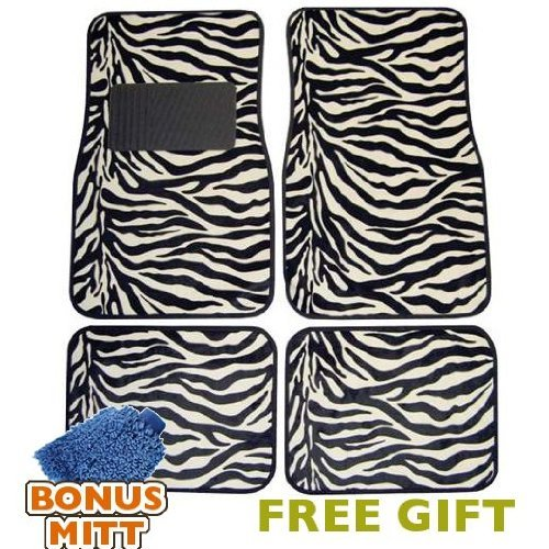 A Set of 4 Universal Fit Animal Print Carpet Floor Mats for Cars/Truck - White Zebra Stripes & Bonus Detailing WASH MITT