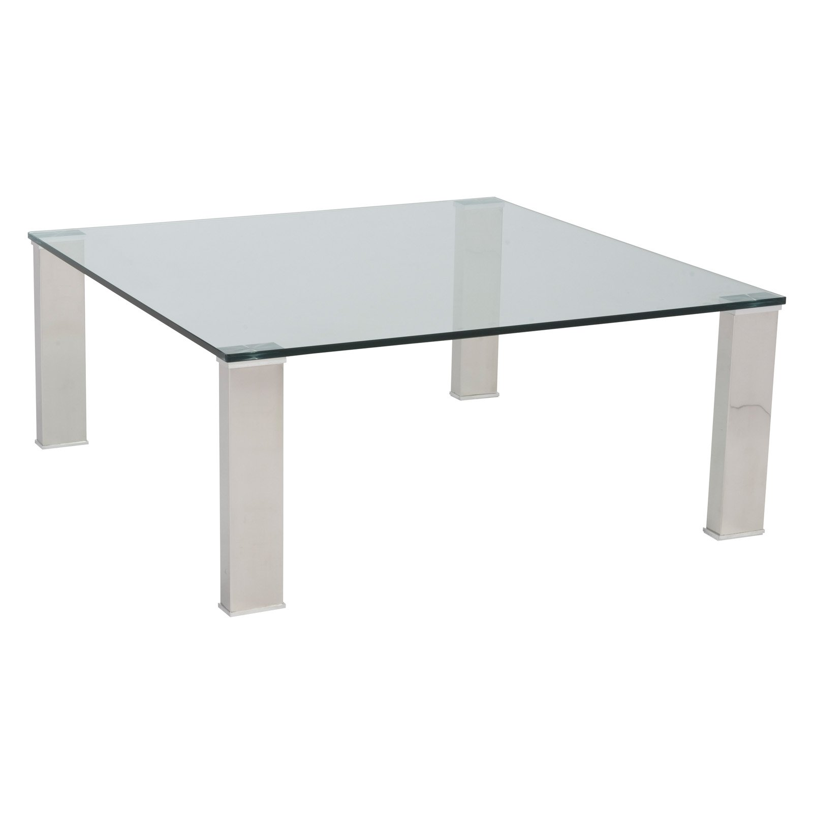 Euro Style Beth Square Coffee Table Clear Stainless Steel Com