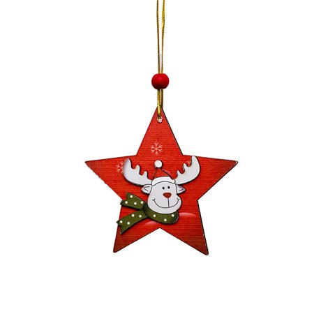 1 PCS Santa Christmas Tree Wood Sleigh Pendant Gift Home Door Hanging Decoration (Sleigh Hanging Decoration)