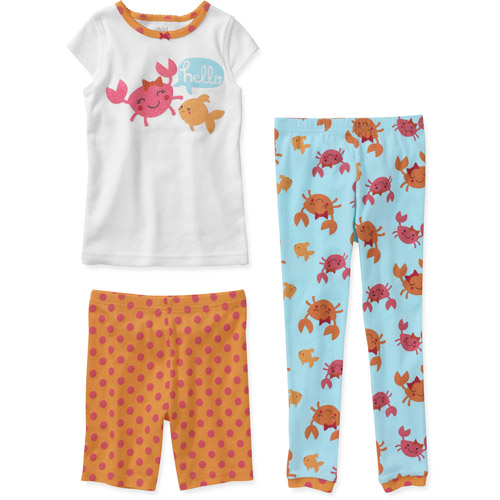 Child of Mine by Carters Baby Girls' 3 Piece Cotton Fish Short Sleeve Pajama Set