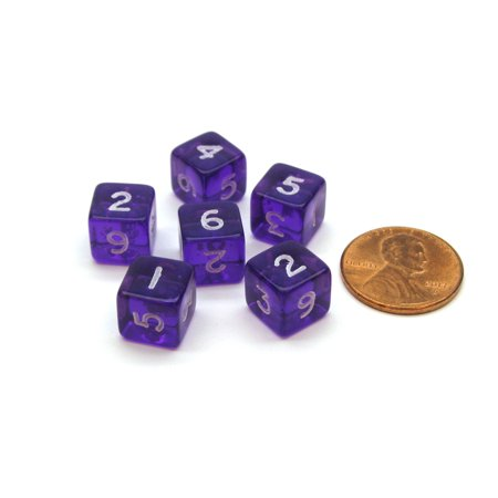 Translucent 9mm Mini 6 Sided D6 Numbered Dice, 6 Pieces - Purple with White