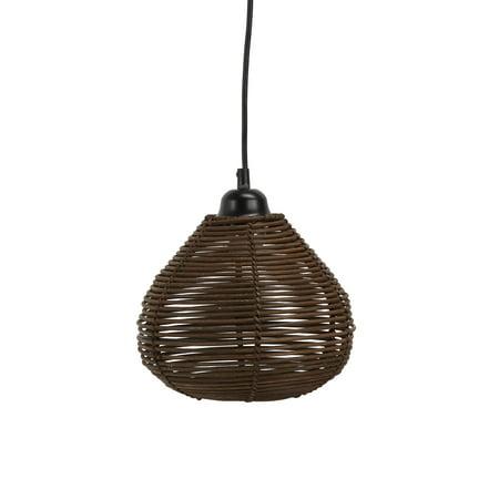 Delilah Woven Wicker Hanging 1 Light Pendant ()