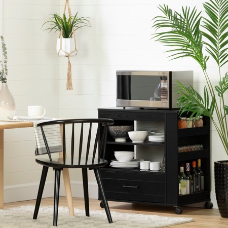 South Shore Vietti Microwave Cart on Wheels , Black Oak