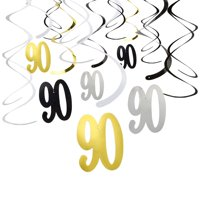 Blue Panda 30-Count Swirl Decorations - Happy Birthday Party Supplies, 90th Birthday Party Streamers, Hanging Whirl Decorations, Assorted Colors - Hanging Length: 36.5 Inches
