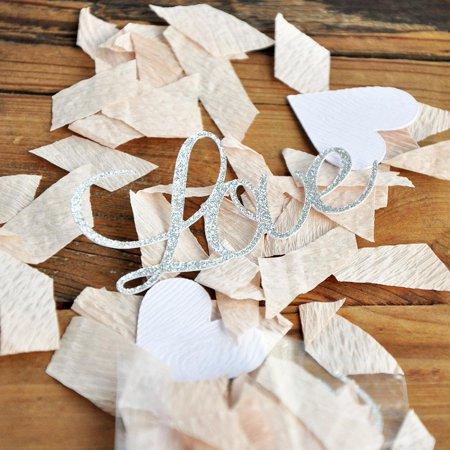 Engagement Party Love Confetti. Champagne and Silver Love Confetti. Silver Bridal Shower Ideas. (Champagne Confetti Bottle)