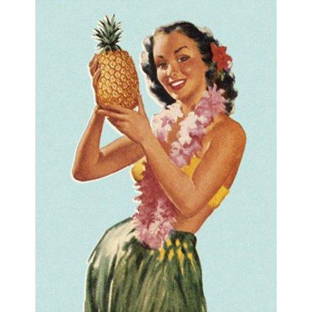 Vintage Art Hula Girl With Pineapple STICKER (hawaii hawaiian)