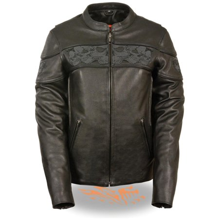 Ladies Black Leather (Milwaukee Leather Womens Crossover Black Leather Scooter Jacket with)