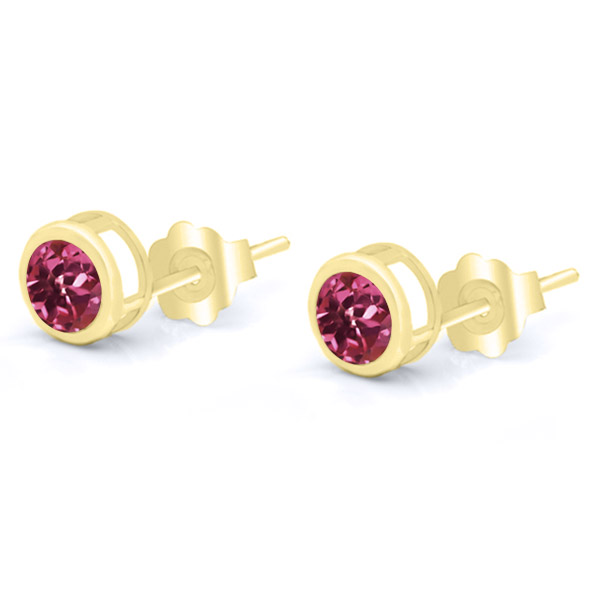 1.00 Ct Round 5mm Pink Tourmaline 14K Yellow Gold Stud Earrings by