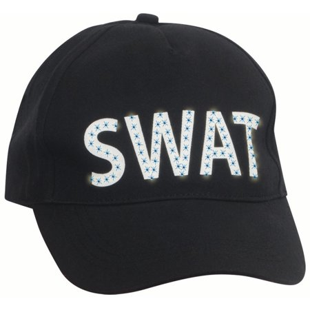 Loftus SWAT Team Police LED Light-Up Costume Baseball Hat, Black White, One Size - Emory Baseball Halloween