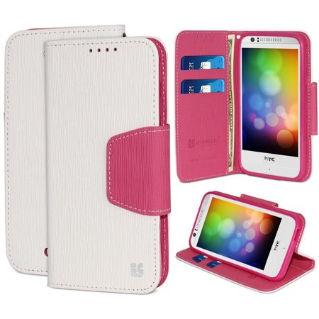 WHITE PINK INFOLIO WALLET CREDIT CARD ID CASE COVER STAND FOR HTC DESIRE (Best Credit Card For 610 Credit Score)