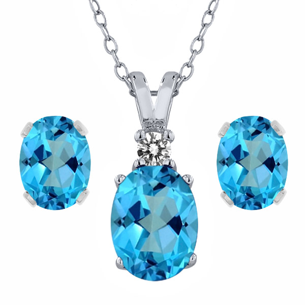 3.57 Ct Oval American Blue Mystic Topaz 925 Sterling Silver Pendant Earrings Set by
