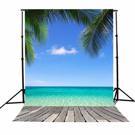 5x7ft Hawaii Photography Background Seaside Beach Sky Tree Camera &amp Scenery Backdrop Studio Prop