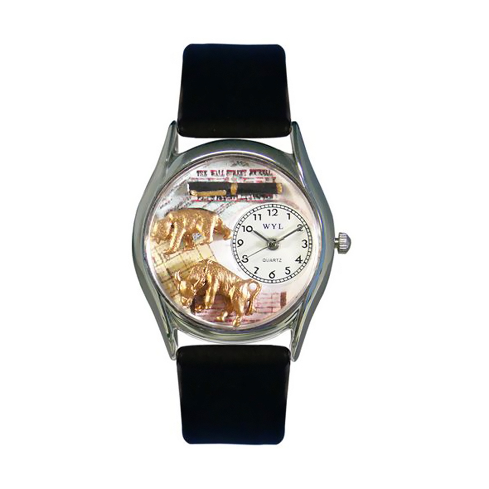 Whimsical Stock Broker Black Leather And Silvertone Watch