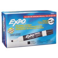 Expo Low Odor Dry Erase Markers, Chisel Tip, Black, 12 Count