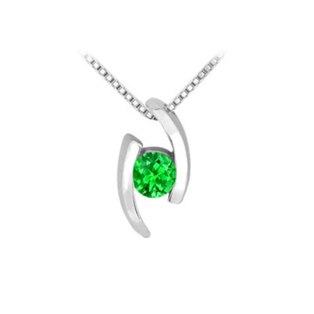 Created Emerald Pendant in Rhodium Treated 925 Sterling Silver 0.25 Carat TGW - image 1 de 2