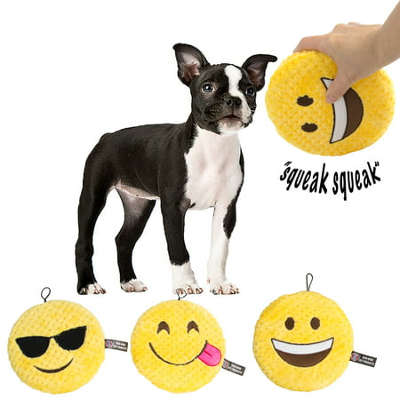 Bow Wow (3 Pack) Emoji Dog Toys Soft Stuffingless Sqeaky Toys For Dogs Puppy Chew Toys - Dog Toys Bulk With Cute Smiley Chewers