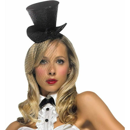 Glitter Mini Top Hat with Veil Adult Halloween Accessory