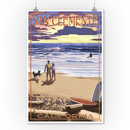San Clemente, California - Sunset Beach Scene - Lantern Press Artwork (9x12 Art Print, Wall Decor Travel Poster) - Beach Lanterns